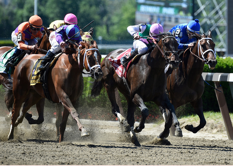 Close Hatches with Joel Rosario in the irons wins a  photo finish with Princess of Sylmar second with Antipathy third in the 46th running of The Ogden Phipps at Belmont Park June 7, 2014 in Elmont, N.Y.  Photo by Skip Dickstein