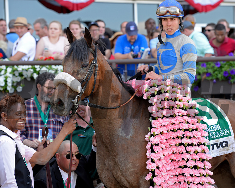 Caption: Sweet Reason with Irad Ortiz Jr. wins the TVG Acorn.<br /> Belmont Stakes day on June 7, 2014, at Belmont Park in Elmont, N.Y.<br /> 6-Acorn1 image591<br /> Photo by Anne M. Eberhardt