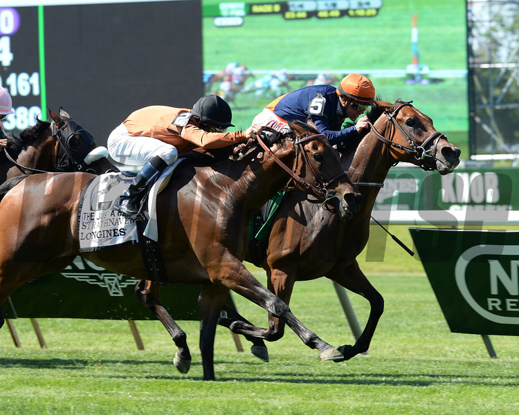 Coffee Clique wins the 2014 Longines Just a Game Stakes at Belmont Park.<br /> Coglianese Photos/Lauren King