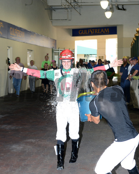 Riding in only his second race, apprentice jockey Michael Ritvo notched his first victory by guiding Little Daniella to a front-running tally in the second race at Gulfstream Park March 23, a $25,000 maiden claiming event.<br /> Coglianese Photo