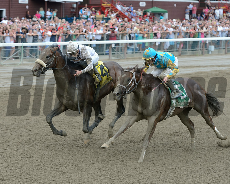 Big Trouble wins the 2014 Sanford Stakes at Saratoga.<br /> Coglianese Photos/Chelsea Durand