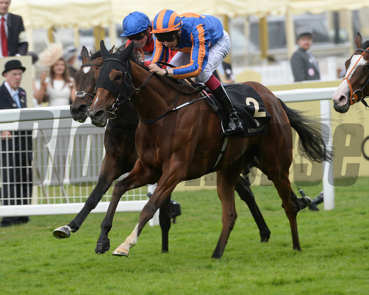 Bracelet, Joseph O'Brien up, wins the Ribblesdale Stakes, Royal Ascot, Ascot Race Course, England, 6/19/14 photo by Mathea Kelley