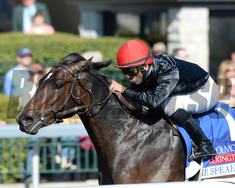 Keeneland Spring 2014; Lexington; KY; photo by Mathea Kelley, Mr Speaker, Jose Lezcano up, wins the Coolmore Lexington, 4/19/14