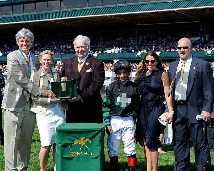 Caption: Occasional View wins the Comonwealth (gr. III): l-r Bobby and Martha Trussell, Paul Hornung; Alan Garcia; Sherri Welborn, Kenny McPeek<br /> Undercard stakes at Keeneland near Lexington, Ky., on April 12, 2014.<br /> image7017<br /> Photo by Anne M. Eberhardt