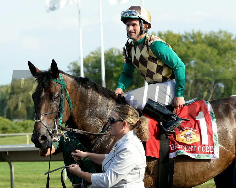 Hardest Core with Eriluis Vaz wins the ARlington Million. Aug. 16, 2014<br /> photo by Anne M. Eberhardt