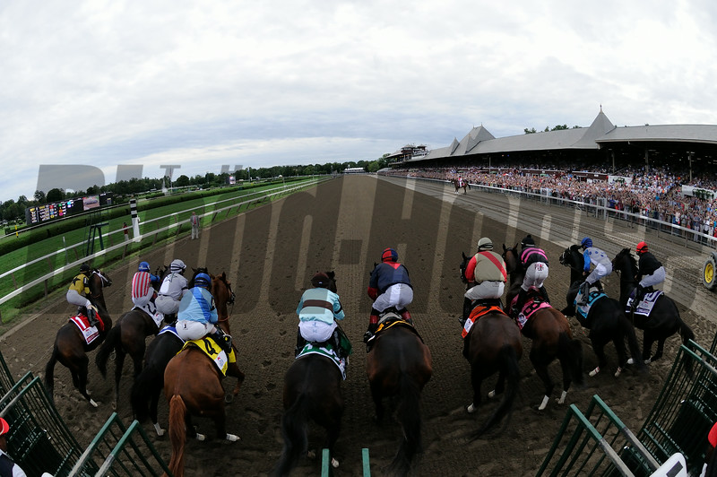 Start of the 2014 Travers Stakes at Saratoga Race Course eventually won by V.E. Day.<br /> Coglianese Photo