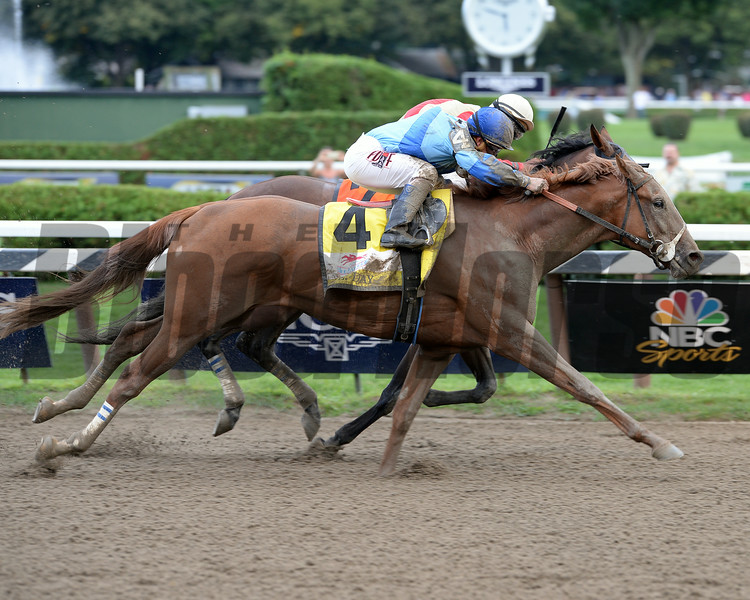 V. E. Day wins the 2014 Travers Stakes at Saratoga.<br /> Coglianese Photos/Lauren King