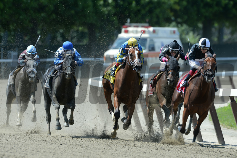 Kid Cruz wins the 2014 Dwyer Stakes at Belmont Park.<br /> Coglianese Photos/Joe Labozzetta