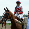Partisan Politics wins the 2014 P. G. Johnson Stakes at Saratoga.<br /> Coglianese Photos