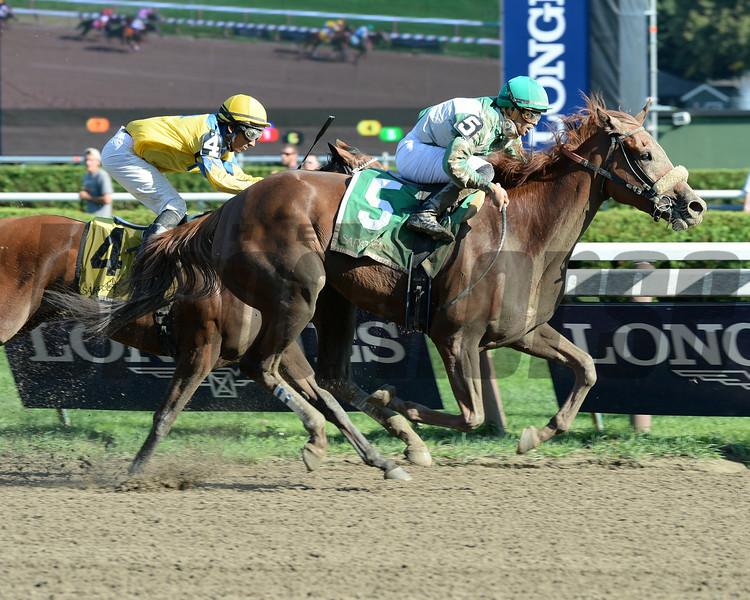 Star Grazing winning the Fleet Indian Stakes 8/24/2014.<br /> Coglianese Photos