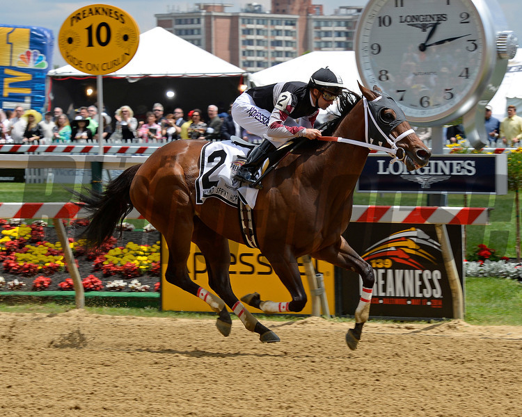 Happy My Way with Joe Bravo wins the Maryland Sprint Handicap (gr. III) at Pimlico on May 17, 2014 in Baltimore, Md.<br /> MDSprint1 image 383<br /> photo by Anne M. Eberhardt