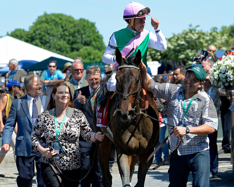 Caption: Close Hatches with Joel Rosario wins the Ogden Phipps (gr. I). <br /> Belmont Stakes day on June 7, 2014, at Belmont Park in Elmont, N.Y.<br /> 7-OgdenPhipps1 image<br /> Photo by Anne M. Eberhardt