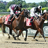 Kid Cruz wins the 2014 Dwyer at Belmont Park.<br /> Coglianese Photos