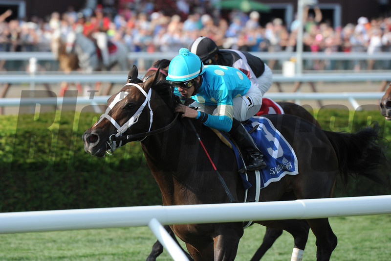 Wallyanna wins the 2014 National Museum of Racing Hall of Fame Stakes at Saratoga.<br /> Coglianese Photos/Adam Mooshian