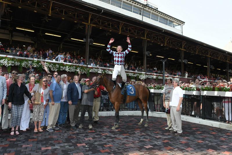 Frankie Dettori celebrates his first win at Saratoga aboard Aventure Love on July 18, 2014.<br /> Coglianese Photos