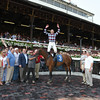 Frankie Dettori celebrates his first win at Saratoga aboard Aventure Love on July 18, 2014.<br /> Coglianese Photos