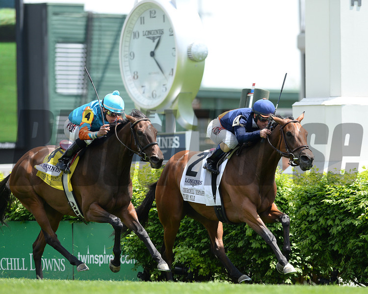 Coffee Clique, Javiar Castellano up, wins the CHURCHILL DISTAFF TURF MILE Stakes, Churchill Downs, Louisville; KY 5/3/14; photo by Mathea Kelley;