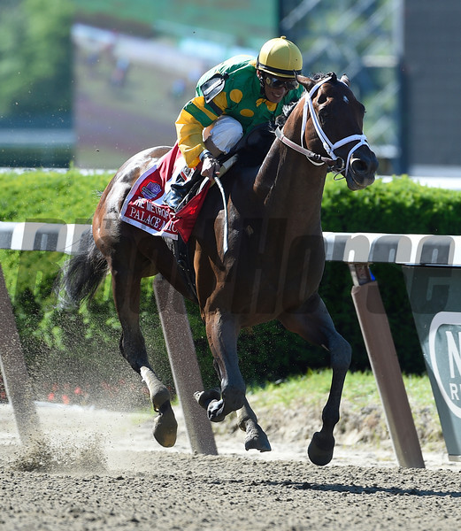 Palace Malice with jockey John Velazquez in the irons wins the 121st running of the Metropolitan June 7, 2014 at Belmont Race Track in Elmont, N.Y.  Photo by Skip Dickstein