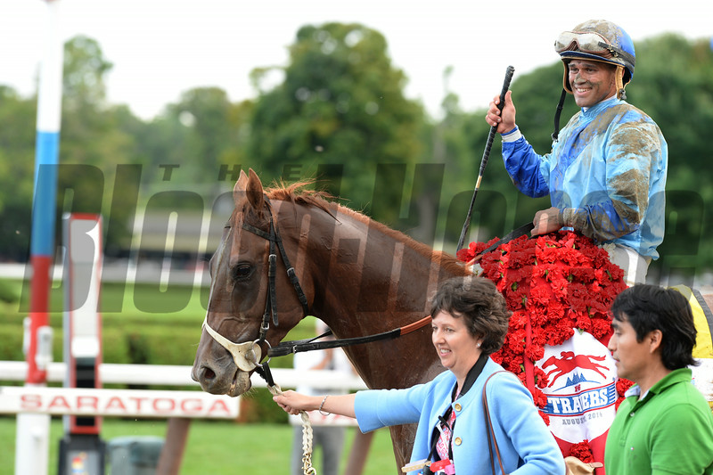 V. E. Day wins the 2014 Travers Stakes at Saratoga.<br /> Coglianese Photos