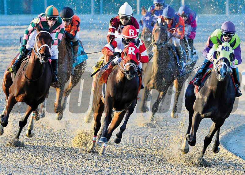 Rosie Napravnik turns for home at the top of the stretch aboard Vicar's In Trouble, red cap, to win the Grade III Lecomte Stakes for 3-year-olds at Fair Grounds Race Coure and Slots in New Orleans, LA Saturday, January18, 2014.<br /> Alexander Barkoff Photo / Hodges Photography