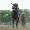 Untapable wins the 2014 Mother Goose at Belmont Park.<br /> Coglianese Photos