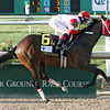 Vicar's In Trouble with jockey Rosie Napravnik aboard wins the 101st running of the Louisiana Derby (GradeII)<br /> at the Fair Grounds in New Orleans, LA, Saturday, March 29, 2014.<br /> Lou Hodges, Jr /  Hodges Photography