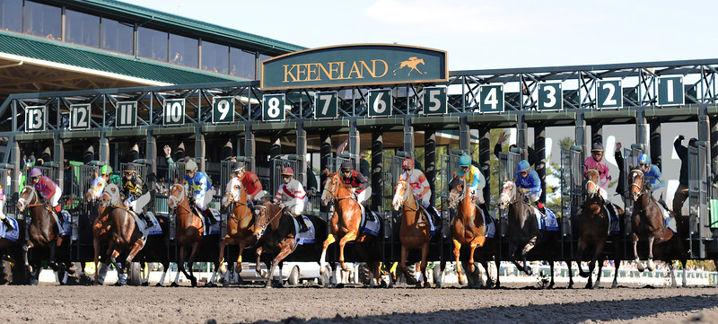 Keeneland Spring 2014; Lexington; KY; photo by Mathea Kelley, Room Service, Shaun Bridgmohan up dead heats with Rosalind, Joel Rosario up in the 2014 Ashland Stakes 4/5/14, Start of Ashland