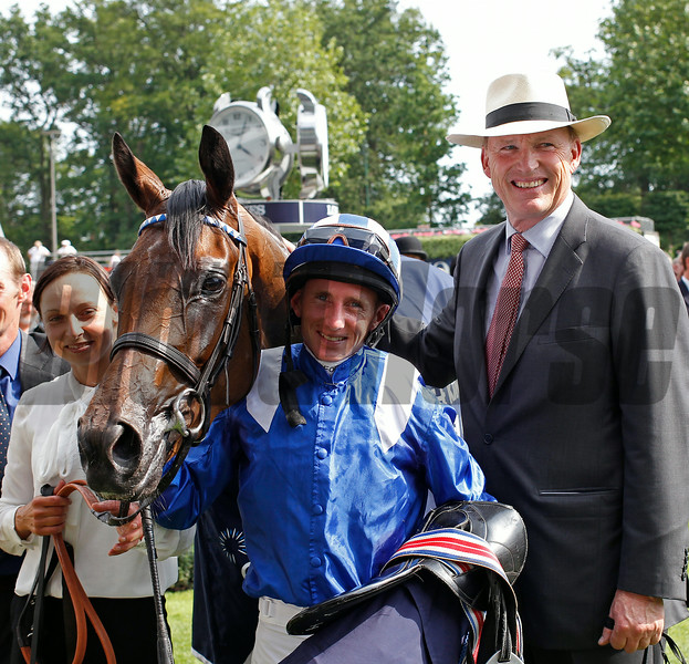 Racing from Ascot 26/7/14. King George V! and Queen Elizabeth Stakes.<br /> Taghrooda with Paul Hanagan and John Gosden, (right).<br /> Trevor Jones Photo