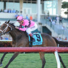 Room Service appreciated some extra ground as she rallied from last to first to deny favored Candy Kitty in the $100,000 Grade III Herecomesthebride Stakes on the Gulfstream Park turf.<br /> Coglianese Photo/Kenny Martin