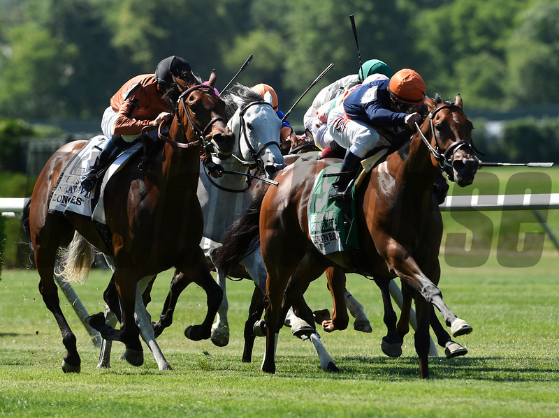 Coffee Clique with jockey Javier Castellano wins the 21st running of The Longines Just A Game stake June 7, 2014 at Belmont Park in Elmont, N.Y.  Photo by Skip Dickstein