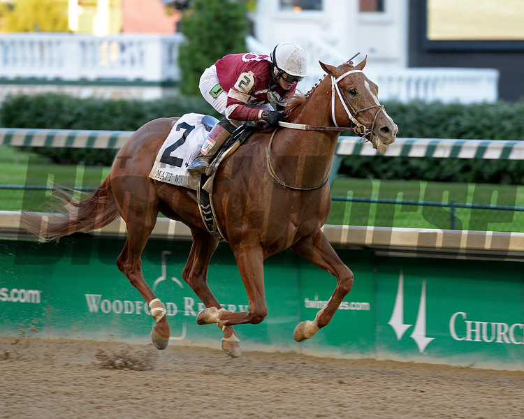 Tapiture with Rosie Napravnik wins the Matt Winn STakes (gr. III) at Churchill Downs on June 14, 2014.<br /> Photo by Anne M. Eberhardt