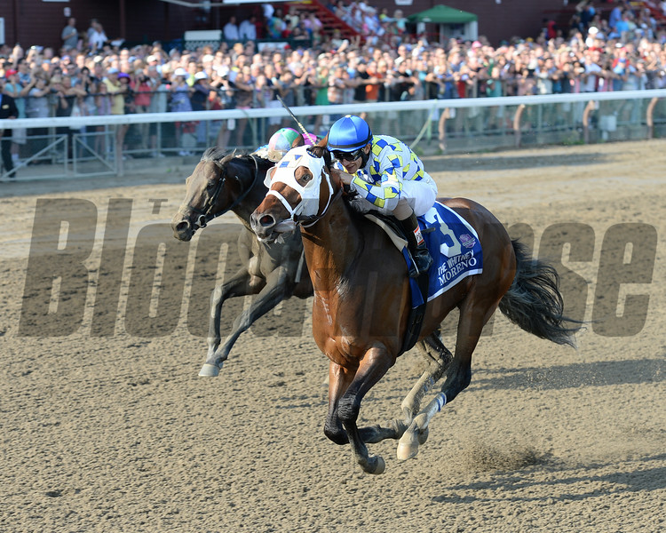 Moreno wins the 2014 Whitney Handicap at Saratoga.<br /> Coglianese Photos/Chelsea Durand