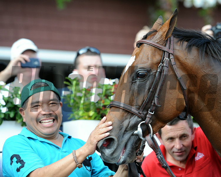 Heart to Heart wins the 2014 Better Talk Now Stakes at Saratoga.<br /> Coglianese Photos