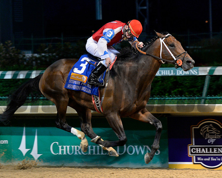Caption:<br /> Moonshine Mullin with Calvin Borel wins the Stephen Foster (gr. I)  at Churchill Downs on June 14, 2014. image 500<br /> Photo by Anne M. Eberhardt