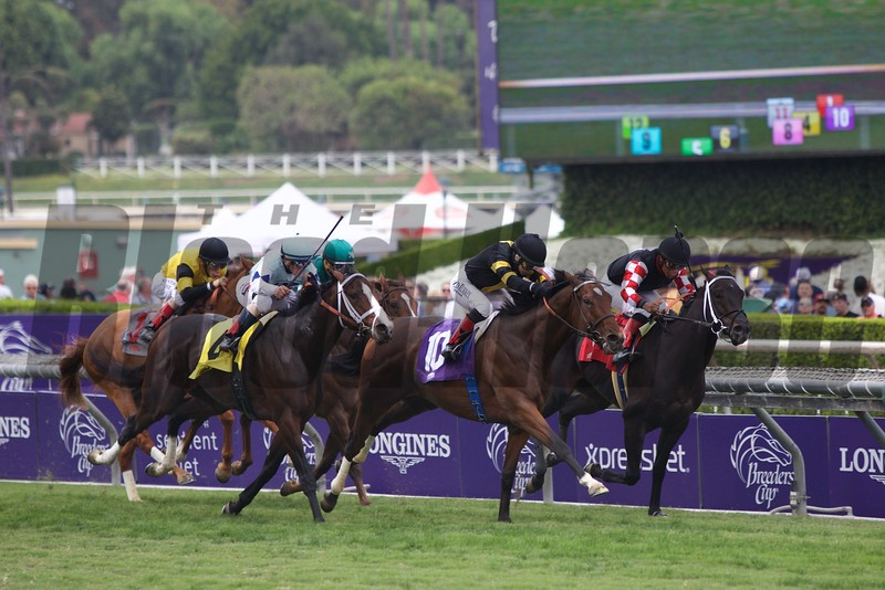 Long On Value, with Rosie Napravnik aboard, wins the Twilight Derby (G. II) at Santa Anita on October 31, 2014.