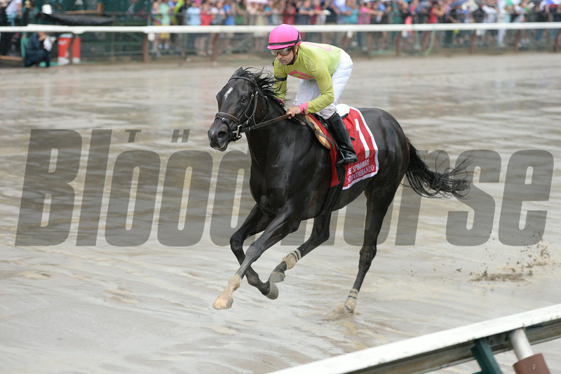 Condo Commando wins the Spinaway Stakes at Saratoga August 31, 2014.<br /> Coglianese Photos