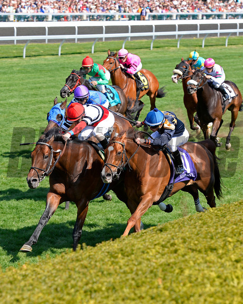 Caption: Marchman (red/white/black silks) with Robby Albarado wins the Shakertown (gr. III), #10; Positive Side with Leandro Goncalves in second.<br /> Undercard stakes at Keeneland near Lexington, Ky., on April 12, 2014.<br /> image7046<br /> Photo by Anne M. Eberhardt