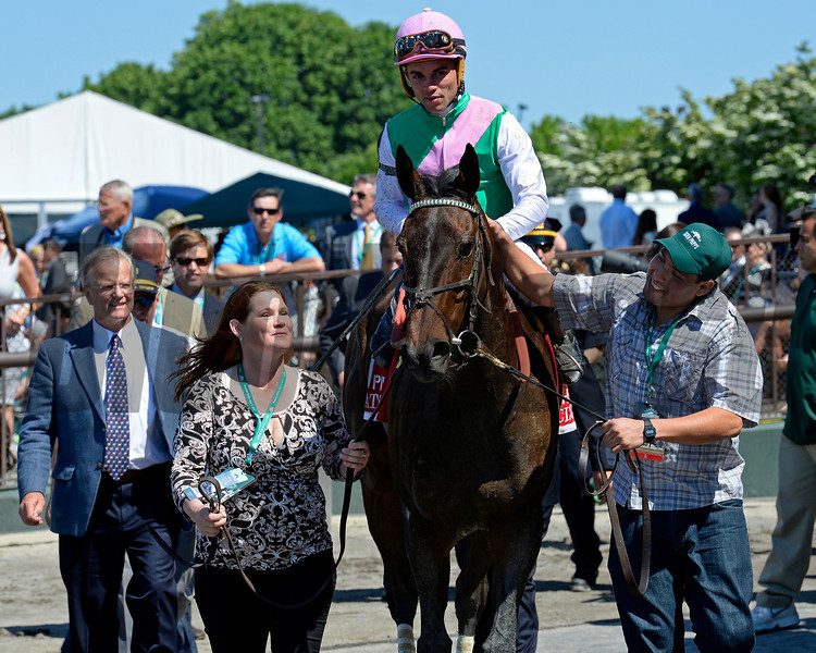 Caption: Close Hatches with Joel Rosario wins the Ogden Phipps (gr. I). <br /> Belmont Stakes day on June 7, 2014, at Belmont Park in Elmont, N.Y.<br /> 7-OgdenPhipps1 image648<br /> Photo by Anne M. Eberhardt