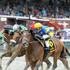 Spring to the Sky wins the 2014 Troy Stakes at Saratoga.<br /> Coglianese Photos