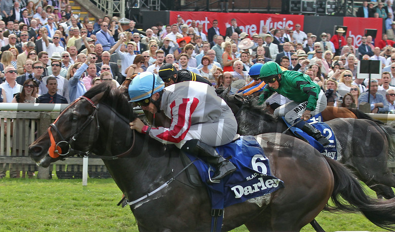 The July Cup, Newmarket 12/7/14.<br /> Slade Power wins from Undrafted (black &Yellow) andGregorian (2)<br /> Trevor Jones Photo