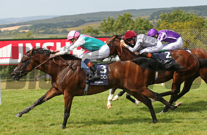 Racing from Goodwood 30/7/14. The QUIPCO Sussex Stakes.<br /> Kingman (left) wins from Toronado (centre) and Darwin (right).