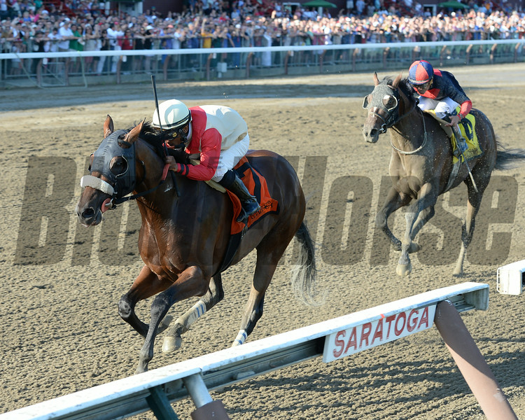 Wicked Strong wins the 2014 Jim Dandy at Saratoga.<br /> Coglianese Photos/Chelsea Durand