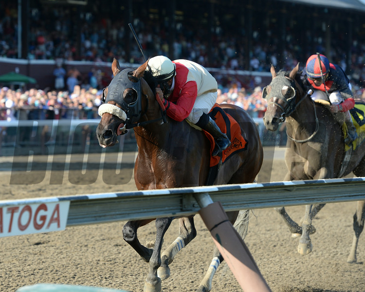 Wicked Strong wins the 2014 Jim Dandy at Saratoga.<br /> Coglianese Photos/Joe Labozzetta