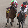 Untapable, far left, with Rosie Napravnik aboard heads into the backstretch turn to go on and win the Rachel Alexandra Stakes at Fair Grounds in New Orleans, LA Saturday February 22, 2014.<br /> <br /> Alexander Barkoff Photo / Hodges Photography