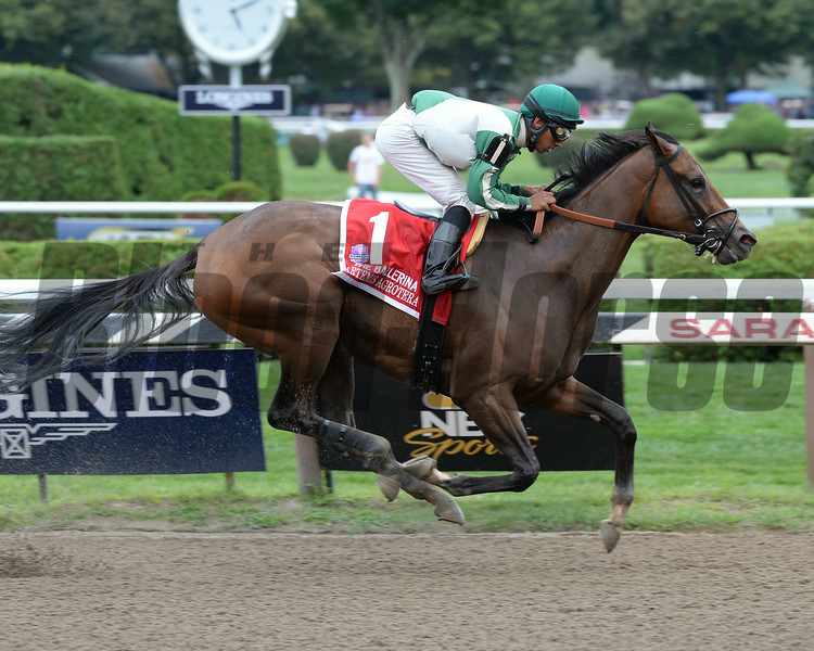 Artemis Agrotera wins the 2014 Ballerina Stakes at Saratoga.<br /> Coglianese Photos/Lauren King