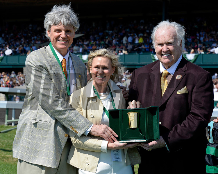 Caption: l-r, Occasional View's owners Bobby and Martha Trussell with NFL Hall of Fame football player Paul Hornung.<br /> Undercard stakes at Keeneland near Lexington, Ky., on April 12, 2014.<br /> image<br /> Photo by Anne M. Eberhardt