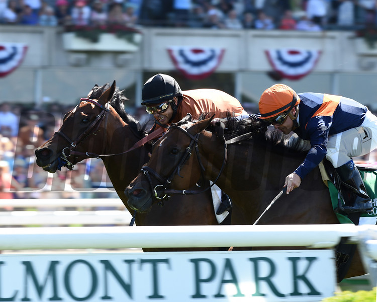 Coffee Clique wins the 2014 Longines Just a Game Stakes at Belmont Park.<br /> Coglianese Photos/Courtney Heeney