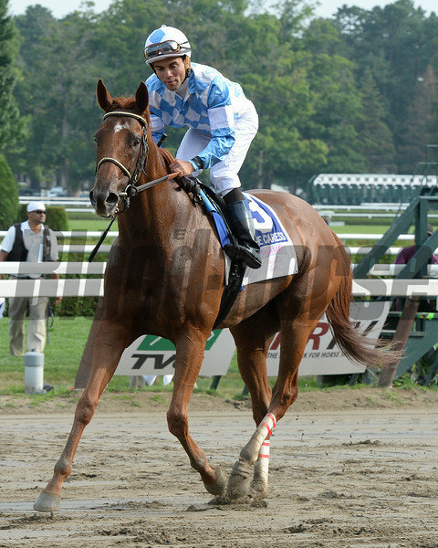 Free as a Bird wins the 2014 Smirnoff Sorbet Caress Stakes at Saratoga.<br /> Coglianese Photos
