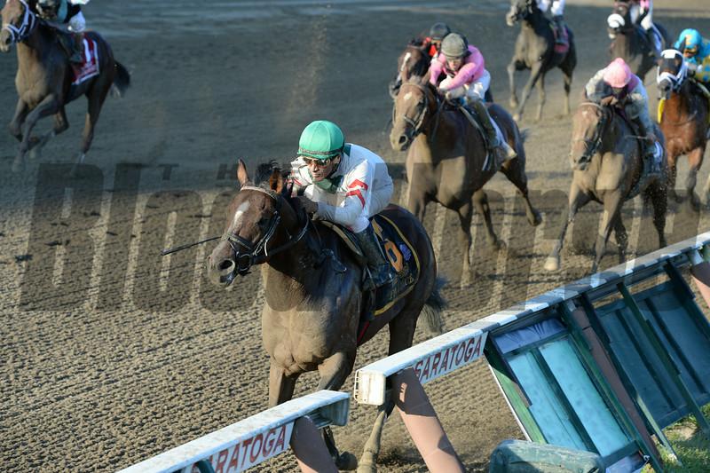 Palace wins the 2014 Forego Stakes at Saratoga.<br /> Coglianese Photos/Joe Labozzetta