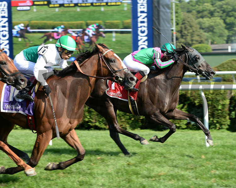 Tricky Hat wins the 2014 John's Call Stakes at Saratoga.<br /> Coglianese Photos